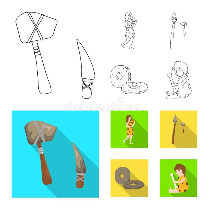 Wektorowa ilustracja ewolucja i neolityczny logo Kolekcja ewolucja i pradawna wektorowa ikona dla zapasu ilustracji