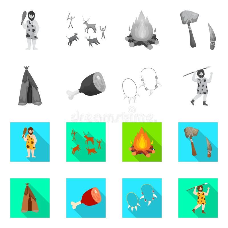 Wektorowa ilustracja ewolucja i neolityczny logo Set ewolucja i pradawna wektorowa ikona dla zapasu ilustracji