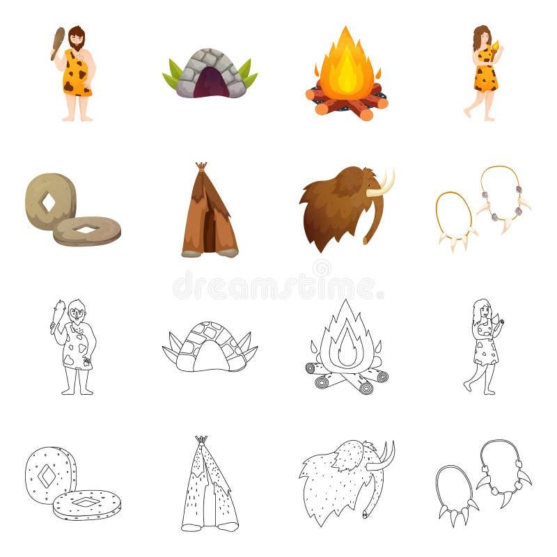 Wektorowa ilustracja ewolucja i neolityczny symbol Kolekcja ewolucja i pradawna wektorowa ikona dla zapasu ilustracji