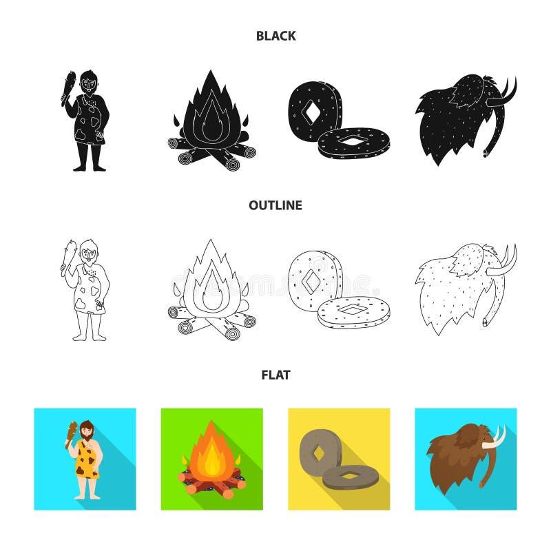 Wektorowa ilustracja ewolucja i neolityczny symbol Kolekcja ewolucja i pradawny akcyjny symbol dla sieci ilustracji