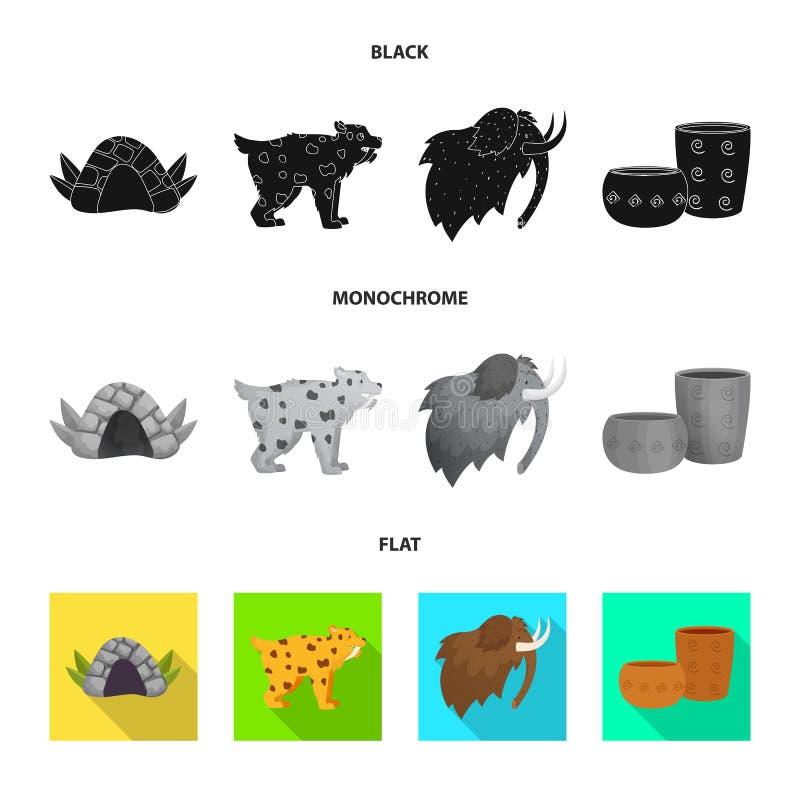 Wektorowa ilustracja ewolucja i neolityczny symbol Set ewolucja i pradawna wektorowa ikona dla zapasu ilustracji