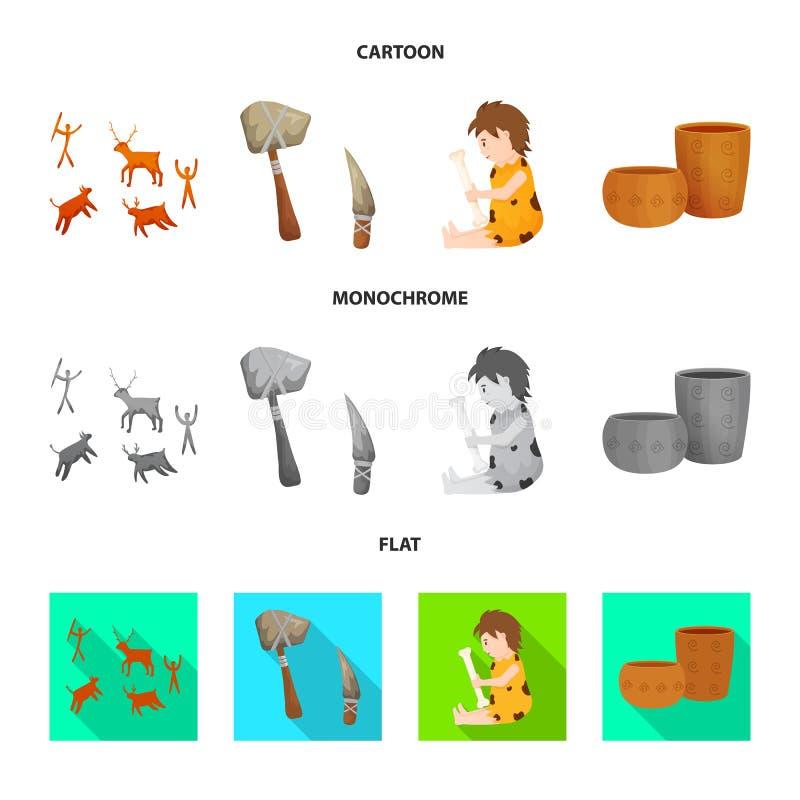 Wektorowa ilustracja ewolucja i neolityczny znak Kolekcja ewolucja i pradawna akcyjna wektorowa ilustracja ilustracji