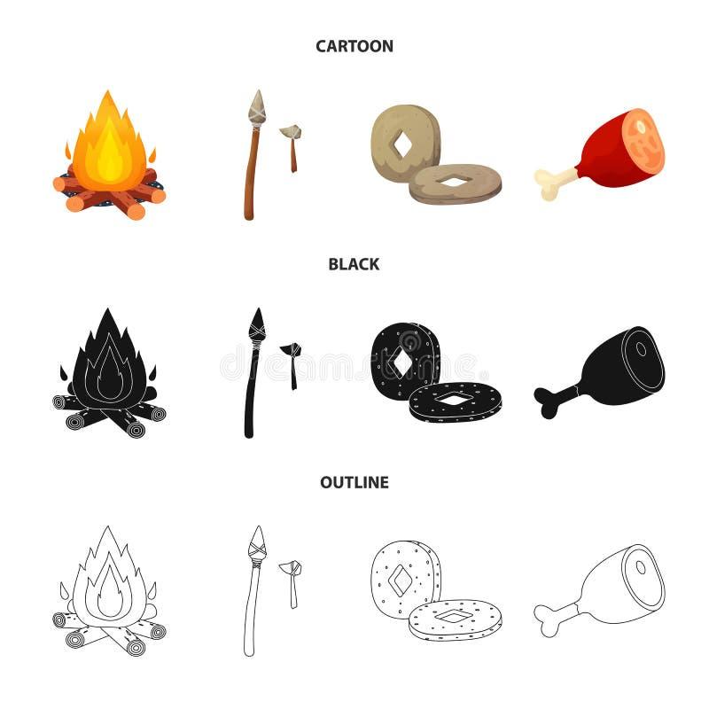 Wektorowa ilustracja ewolucja i neolityczny znak Kolekcja ewolucja i pradawny akcyjny symbol dla sieci royalty ilustracja