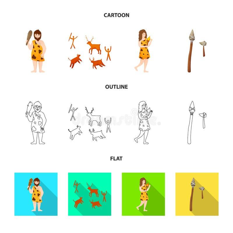Wektorowa ilustracja ewolucja i neolityczny znak Kolekcja ewolucja i pradawny akcyjny symbol dla sieci ilustracji