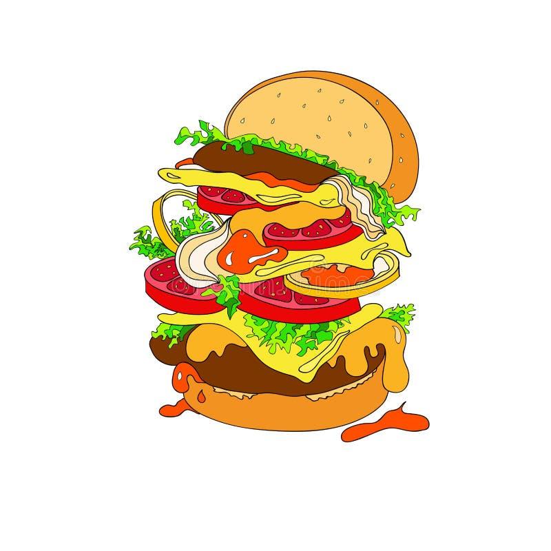 Wektorowa ilustracja fantastyczny hamburger Babeczka, cutlets, pomidory, pomidory, ketchup, cebule, sałata, zielenieje ilustracja wektor