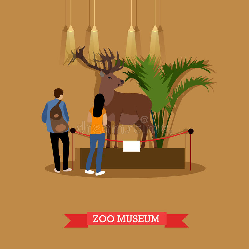 Wektorowa ilustracja faszerujący goście w zoologicznym muzeum i rogacz royalty ilustracja