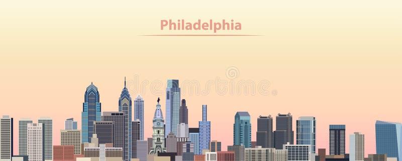 Wektorowa ilustracja Filadelfia miasta linia horyzontu przy wschodem słońca ilustracji