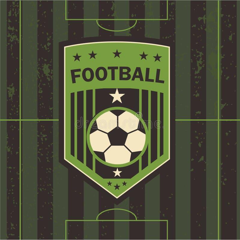Wektorowa ilustracja futbolowy emblemata boisko piłkarskie royalty ilustracja
