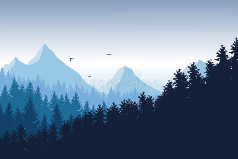 Wektorowa ilustracja góra krajobraz z lasem pod błękitem ilustracja wektor