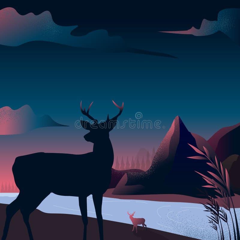 Wektorowa ilustracja - góry krajobrazowa sylwetka z Reinder w lasowej naturze sztuka Rzeka Tło royalty ilustracja