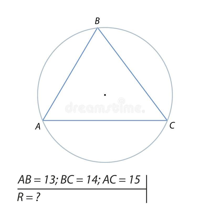 Wektorowa ilustracja geometrical problem znajdować promieniomierz okrąg opisywał o trapezium-01 royalty ilustracja