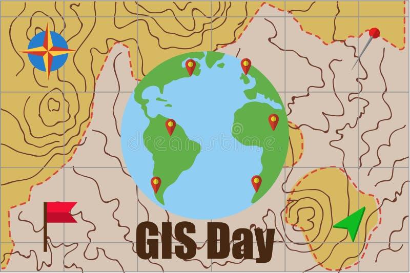Wektorowa ilustracja GIS systemu informacyjnego Geograficzny dzień zdjęcie stock
