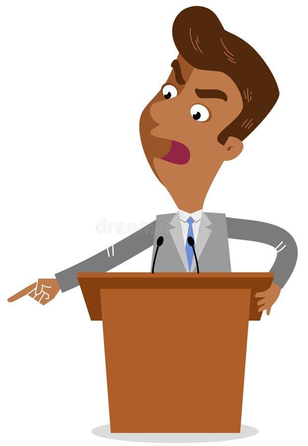 Wektorowa ilustracja gniewna azjatykcia kreskówka biznesmena pozycja za wysokim biurkiem na podium wskazuje agresywnie ilustracja wektor