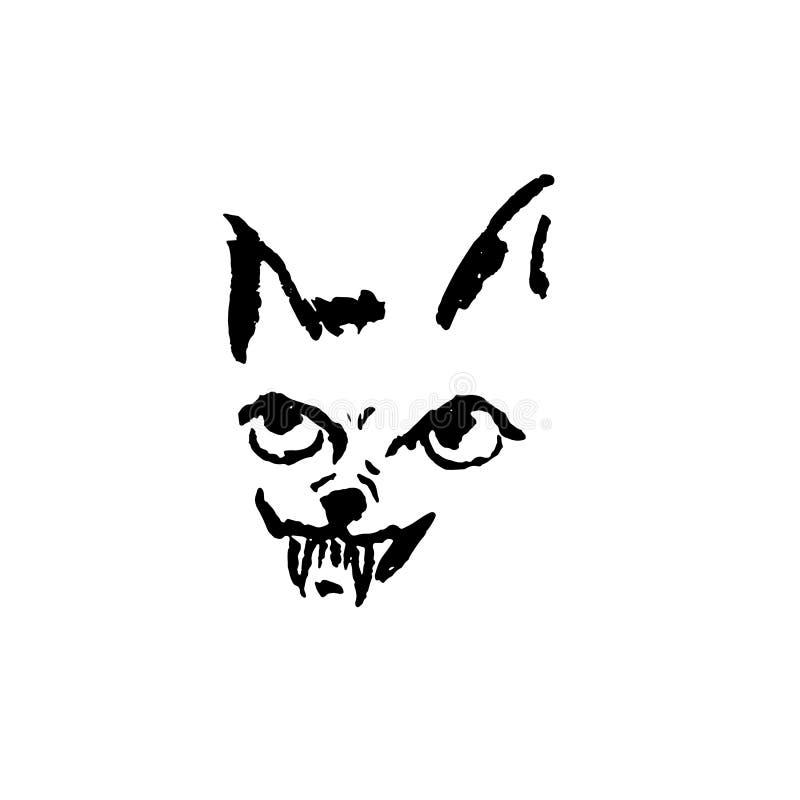 Wektorowa ilustracja gniewny pies z uśmiechem Prosty grunge hieny portret ilustracji