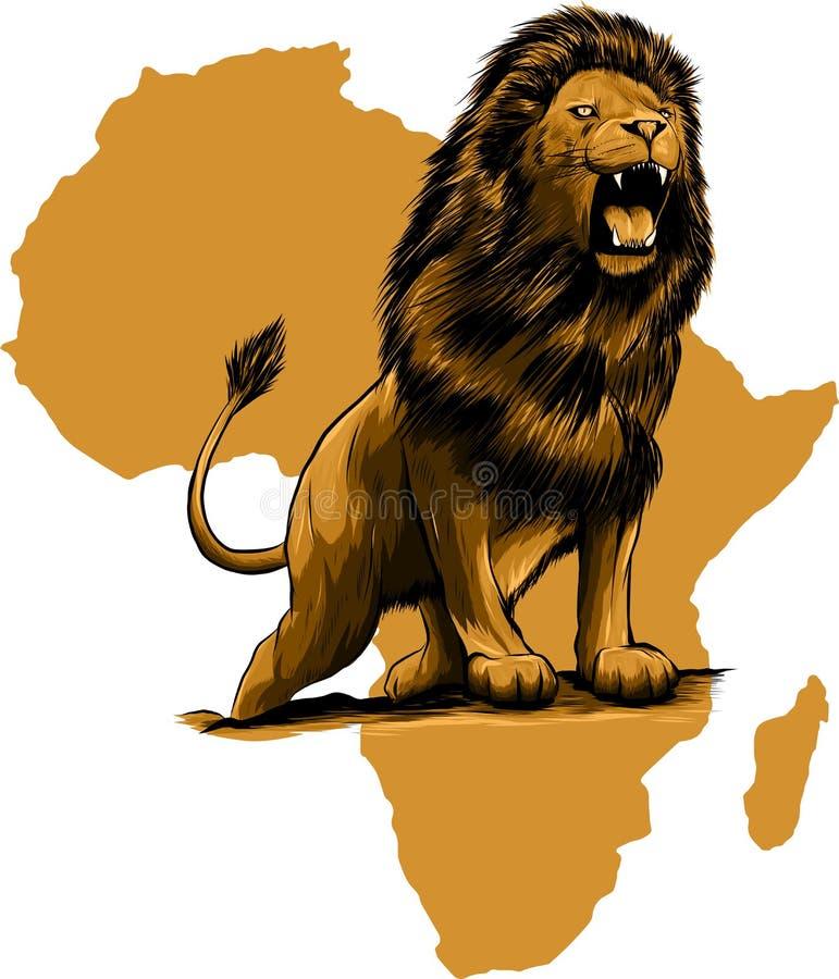 Wektorowa ilustracja gniewny skaczący lew w białym tle ilustracja wektor