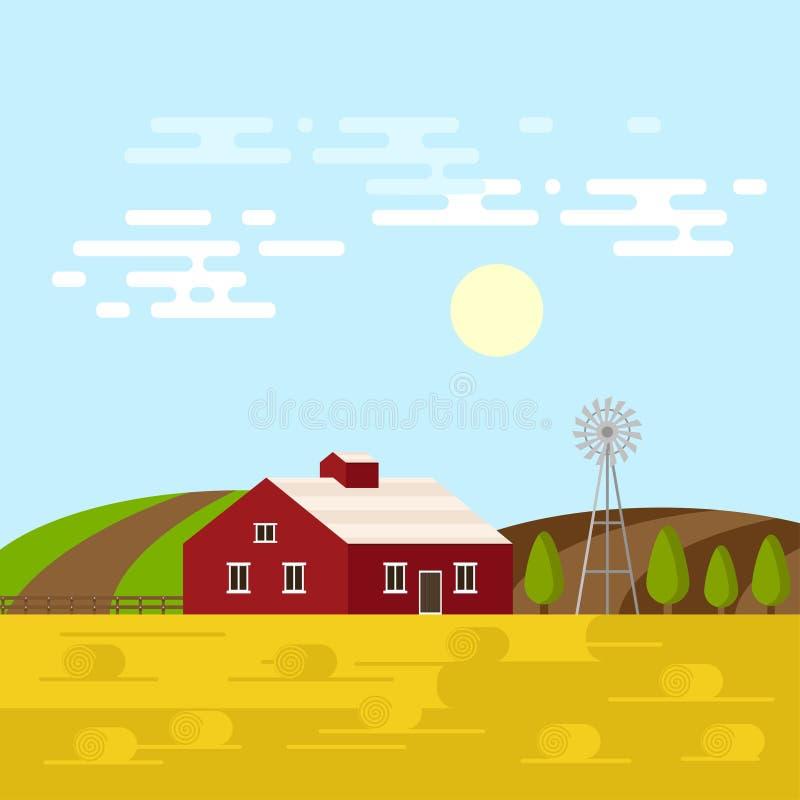 Wektorowa ilustracja gospodarstwo rolne w dniu ilustracji