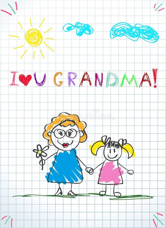 Wektorowa ilustracja grandmom i wnuk wpólnie trzyma ręki i inskrypcję kocham ciebie babcia royalty ilustracja