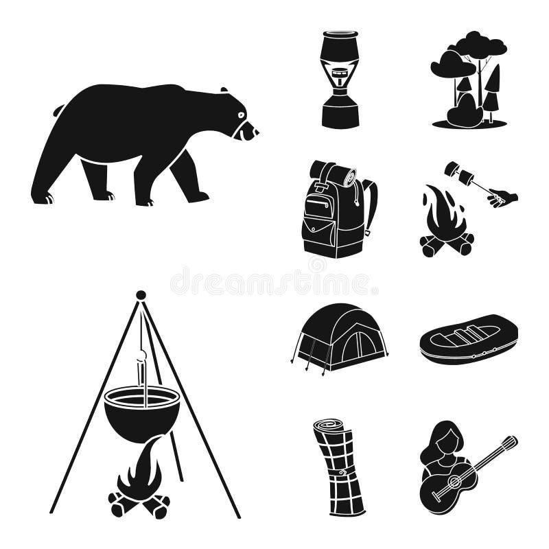 Wektorowa ilustracja grill i czas wolny ikona Set grilla i natury akcyjna wektorowa ilustracja ilustracji