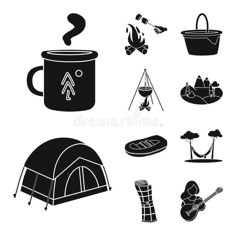 Wektorowa ilustracja grill i czasu wolnego symbol Set grilla i natury wektorowa ikona dla zapasu ilustracji