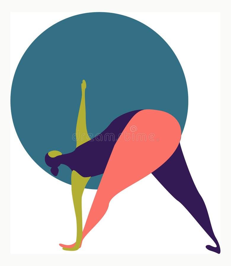 Wektorowa ilustracja gruba kobieta robi joga ilustracji