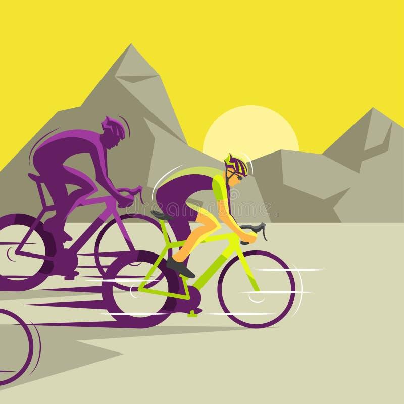 Wektorowa ilustracja grupa bieżni cykliści royalty ilustracja