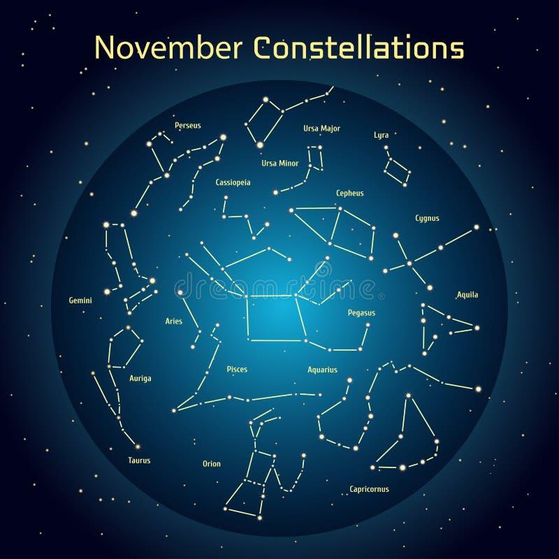 Wektorowa ilustracja gwiazdozbiory nocne niebo w Listopadzie Jarzący się zmrok - błękitny okrąg z gwiazdami w przestrzeni royalty ilustracja
