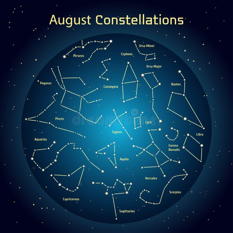 Wektorowa ilustracja gwiazdozbiory nocne niebo w Sierpień Jarzy się zmrok - błękitny okrąg z gwiazdami w przestrzeni ilustracja wektor