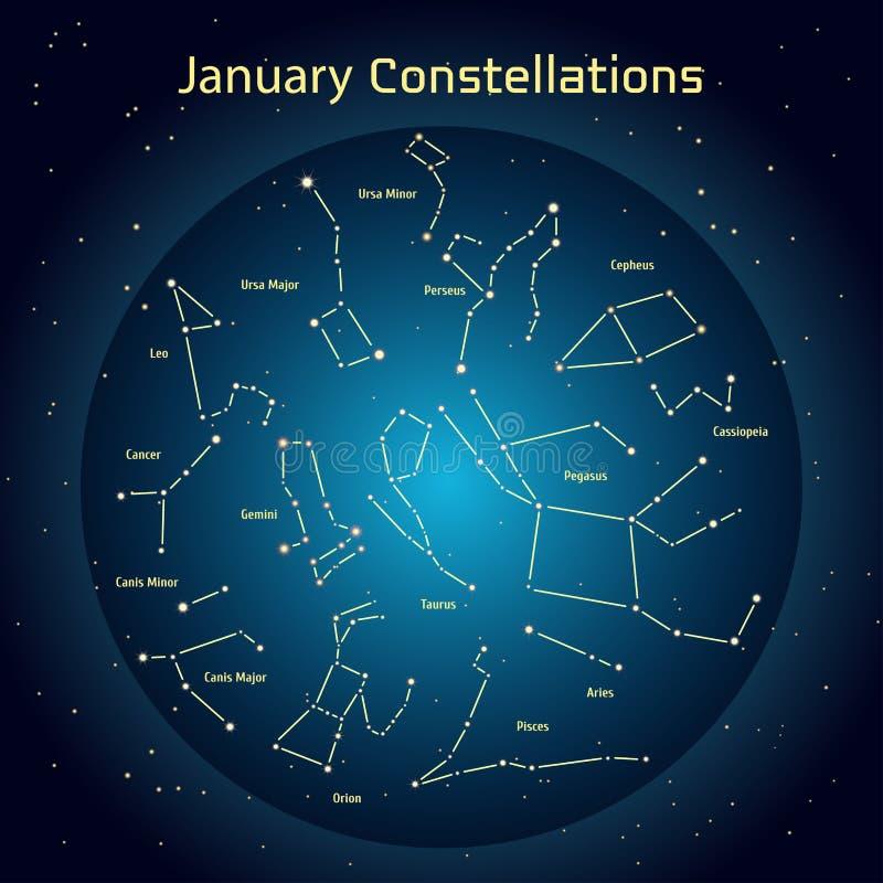 Wektorowa ilustracja gwiazdozbiory nocne niebo w Styczniu ilustracji