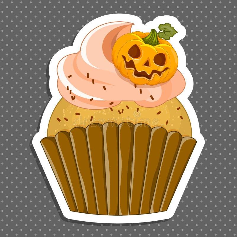 Wektorowa ilustracja Halloween purpurowa babeczka na białym tle Szczęśliwi Halloween straszni cukierki 1 2 ilustracji