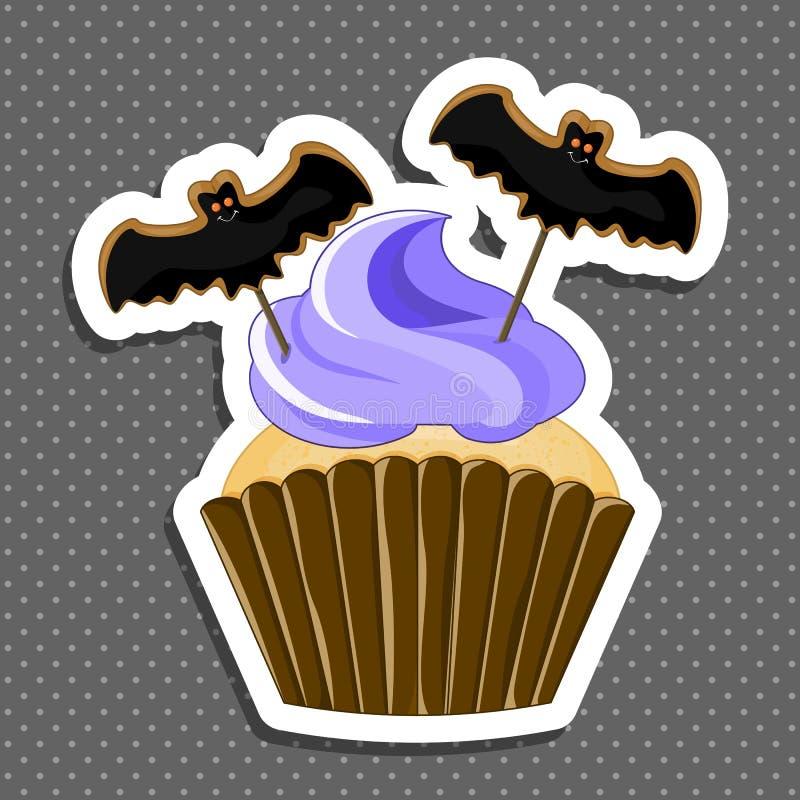 Wektorowa ilustracja Halloween purpurowa babeczka na białym tle Szczęśliwi Halloween straszni cukierki 1 2 ilustracja wektor