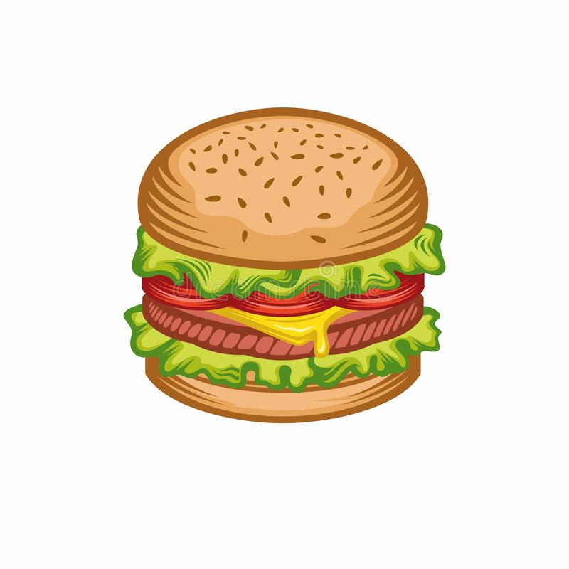 Wektorowa ilustracja hamburgeru nakreślenia retro styl Hamburgeru dom ilustracja wektor