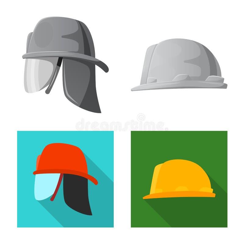 Wektorowa ilustracja headwear i nakrętki ikona Kolekcja headwear i akcesoryjny akcyjny symbol dla sieci ilustracja wektor