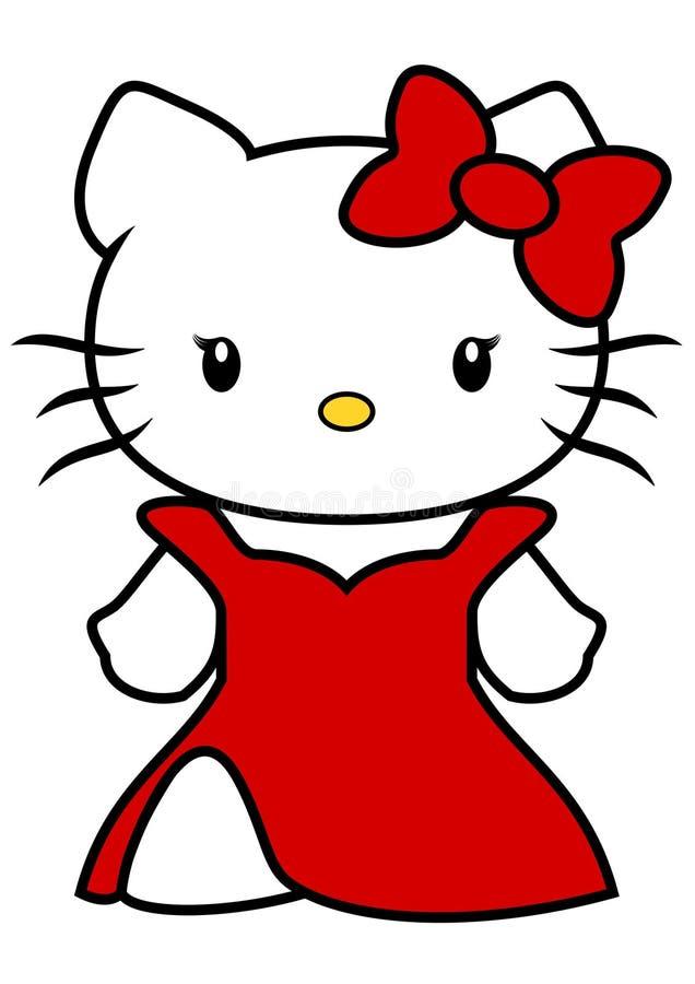 Wektorowa ilustracja Hello Kitty z długą czerwieni suknią i czerwonym łękiem odizolowywającymi na białym tle, kreskówka