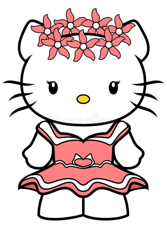 Wektorowa ilustracja Hello Kitty z krótką menchii suknią i wiankiem różowi kwiaty na ona kierownicza, odosobnionym na białym tle