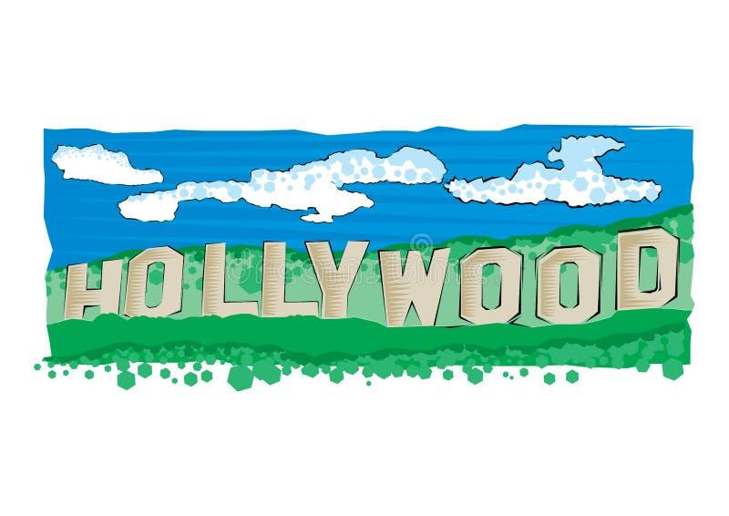 Wektorowa ilustracja Hollywood podpisuje wewnątrz Los Angeles Mieszkanie stylowa ilustracja ilustracji