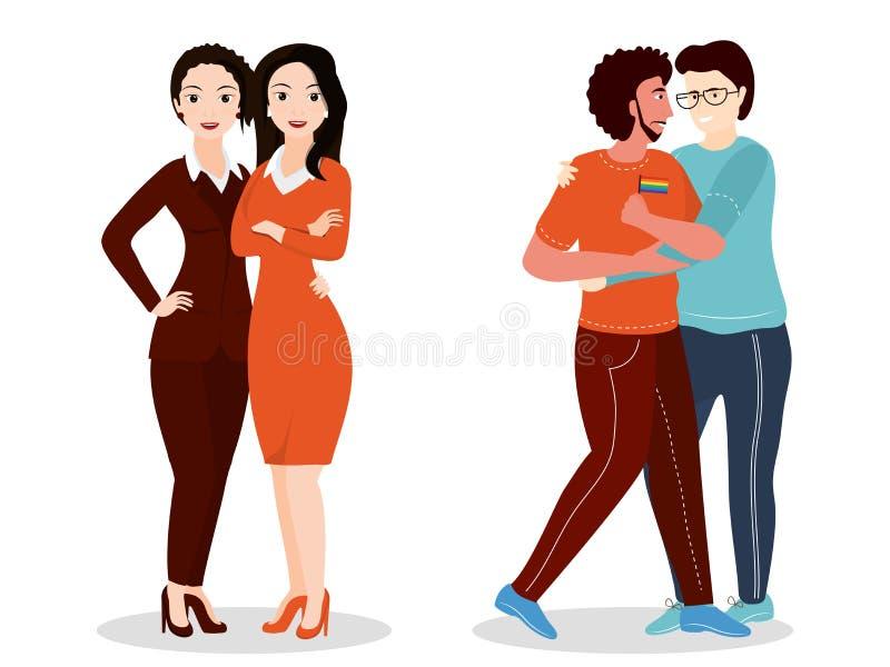 Wektorowa ilustracja homoseksualista i lezbijka pary royalty ilustracja