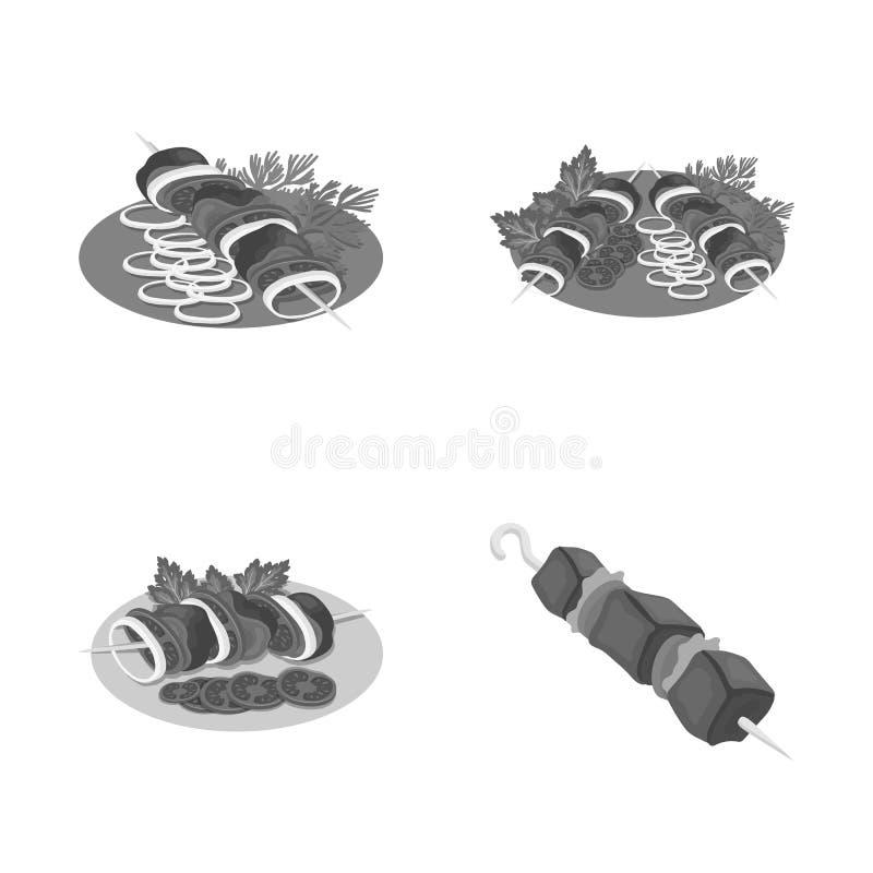 Wektorowa ilustracja i grilla symbol Kolekcja i węgiel drzewny akcyjna wektorowa ilustracja ilustracji