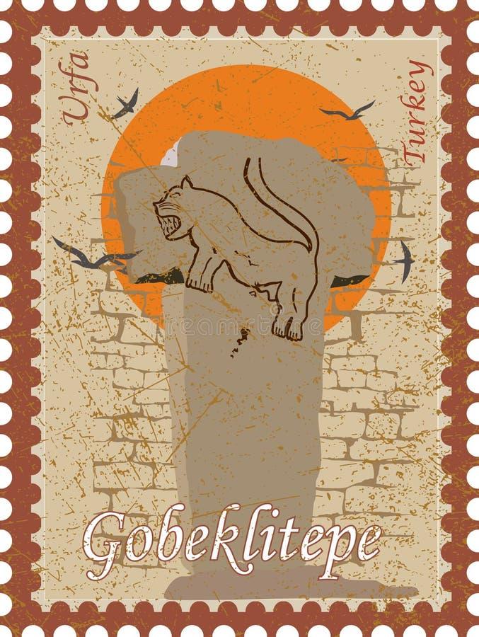 Wektorowa ilustracja i sylwetka rysuje Gobeklitepe, Urfa, Turcja - rocznik UNESCO dziedzictwo kulturowe Gobekli tepe w TURCJA ilustracja wektor