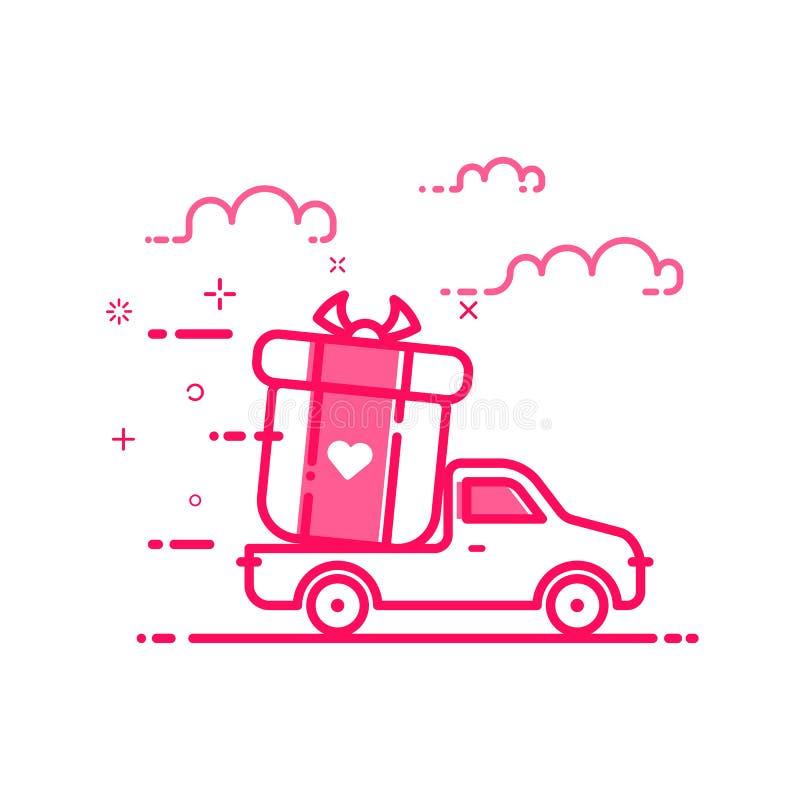 Wektorowa ilustracja ikon valentines dnia zakupy pojęcia doręczeniowy servicein w płaskim śmiałym kreskowym stylu ilustracji