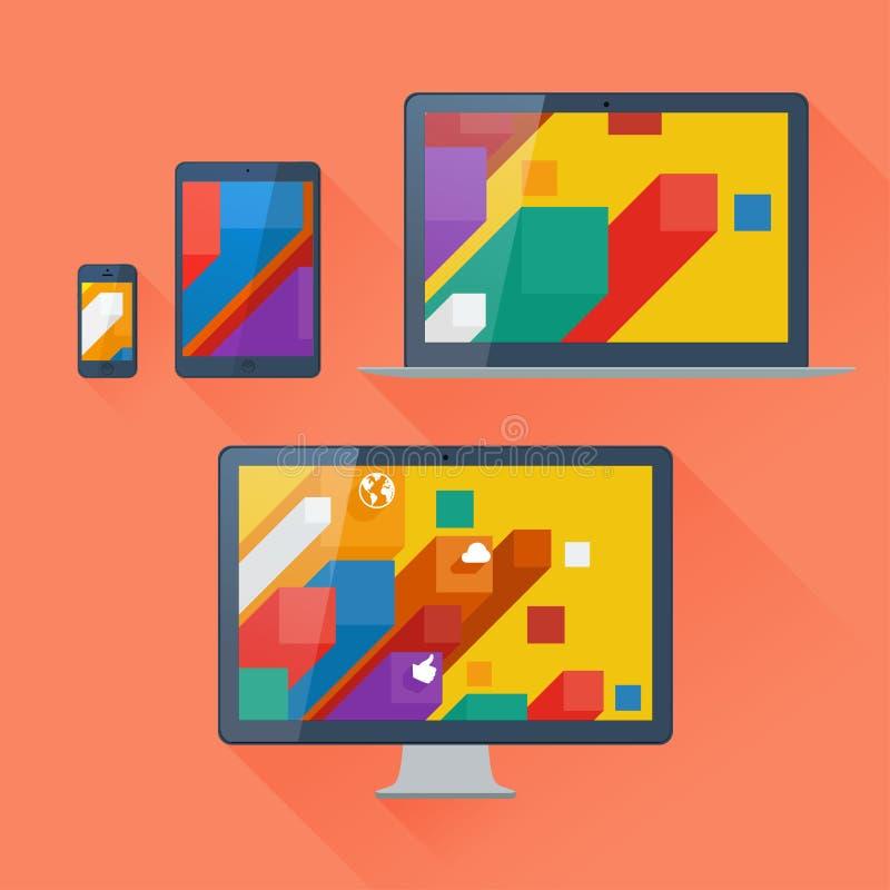 Wektorowa ilustracja interfejs użytkownika na cyfrowych przyrządach ilustracja wektor