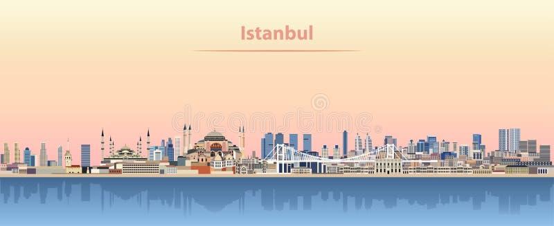 Wektorowa ilustracja Istanbuł linia horyzontu przy wschodem słońca ilustracji
