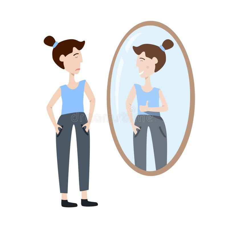 Wektorowa ilustracja jaźni akceptacja Młodej kobiety dopatrywanie przy jej odbiciem w lustrze ilustracji