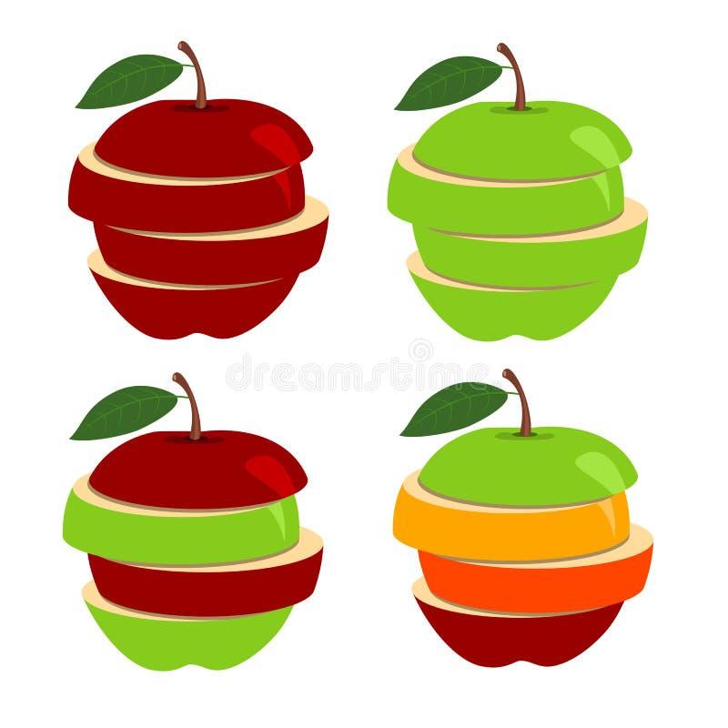 Wektorowa ilustracja jabłko z plasterkami odizolowywającymi na białym tle ilustracji