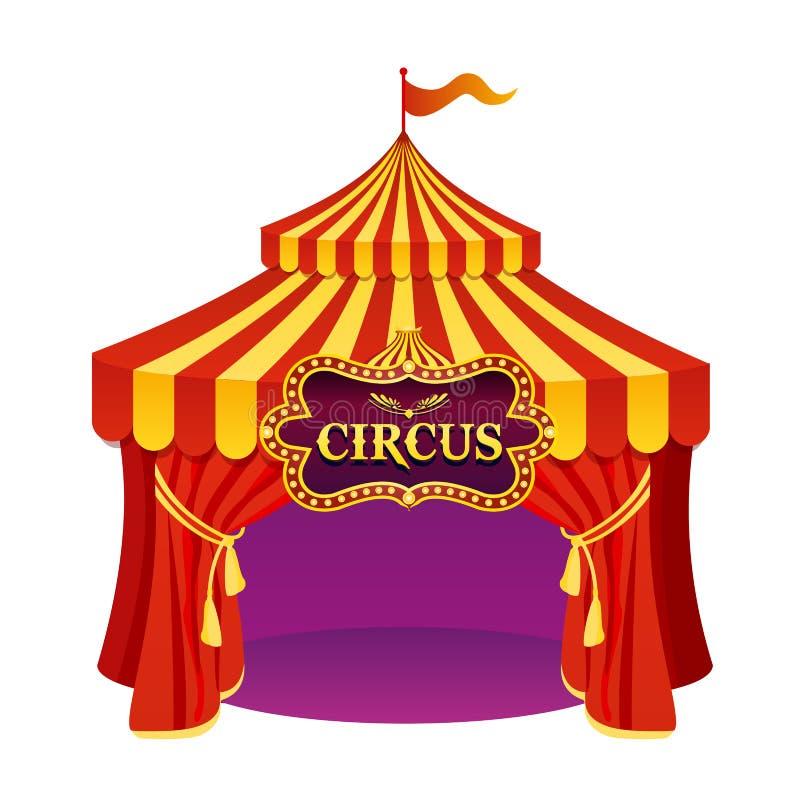 Wektorowa ilustracja jaskrawych kolorów cyrkowy namiot z pięknym emblematem odizolowywającym na białym tle ilustracja wektor