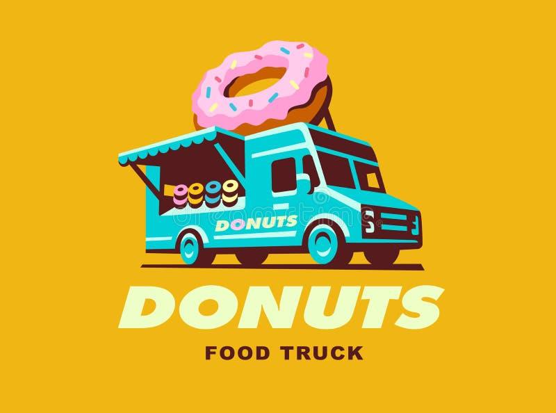 Wektorowa ilustracja jedzenie ciężarówki loga Donuts ilustracji