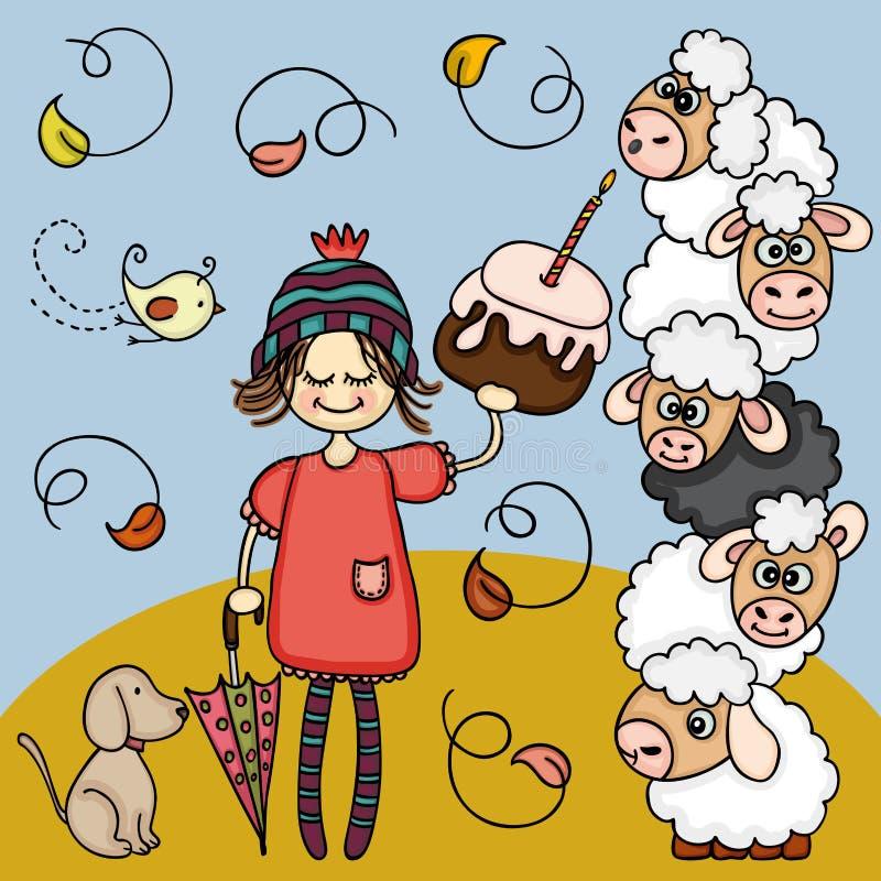 Wektorowa ilustracja jesieni dziewczyna z urodzinowym tortem royalty ilustracja