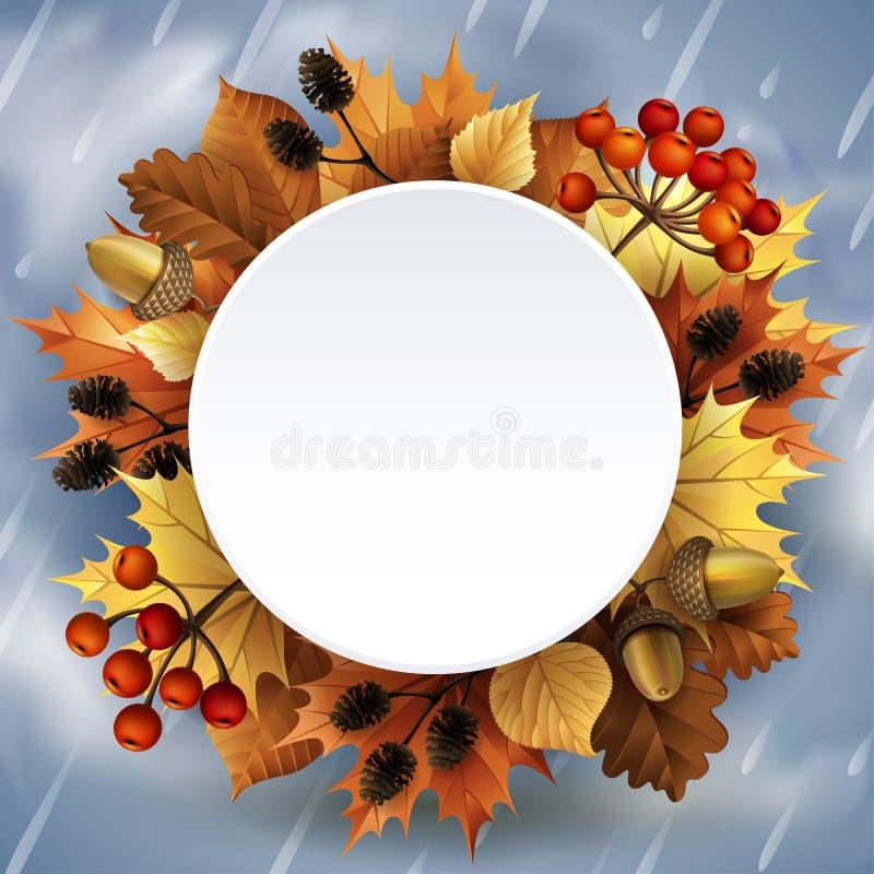 Wektorowa ilustracja - jesieni tło z liśćmi, jagodami, acorns i rożkami, ilustracja wektor