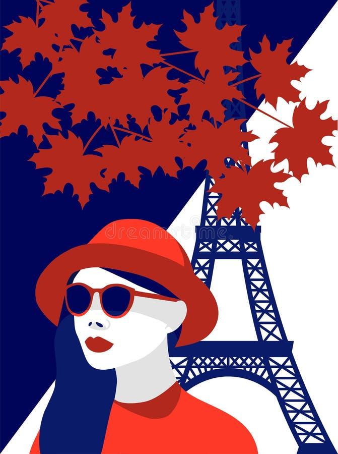 Wektorowa ilustracja jest ubranym czerwonego kapelusz i eleganckich okulary przeciwsłonecznych w Paryż modna kobieta Kontrastuje  royalty ilustracja