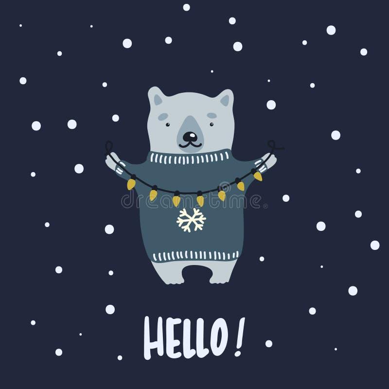 Wektorowa ilustracja jest ubranym wakacyjnego pulower i zawiązuje czarodziejskich światła w zimy nocy kreskówka niedźwiedź royalty ilustracja
