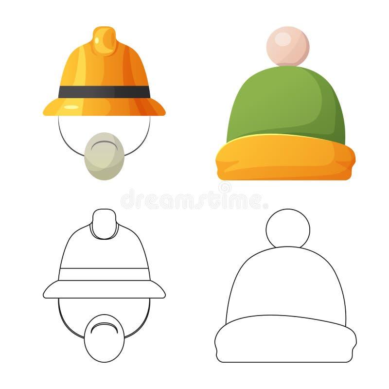 Wektorowa ilustracja kłobuku i nakrętki ikona Set kłobuku i akcesorium akcyjna wektorowa ilustracja ilustracji